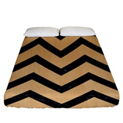 Chevron9 Black Marble & Natural White Birch Wood (r) Fitted Sheet (king Size)