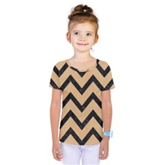 Chevron9 Black Marble & Natural White Birch Wood (r) Kids  One Piece Tee