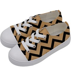 Chevron9 Black Marble & Natural White Birch Wood (r) Kids  Low Top Canvas Sneakers by trendistuff