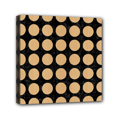Circles1 Black Marble & Natural White Birch Wood Mini Canvas 6  X 6  by trendistuff