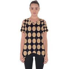 Circles1 Black Marble & Natural White Birch Wood Cut Out Side Drop Tee