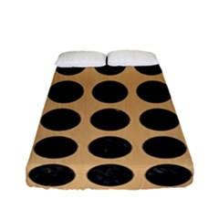 Circles1 Black Marble & Natural White Birch Wood (r) Fitted Sheet (full/ Double Size) by trendistuff