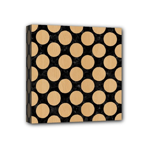 Circles2 Black Marble & Natural White Birch Wood Mini Canvas 4  X 4  by trendistuff