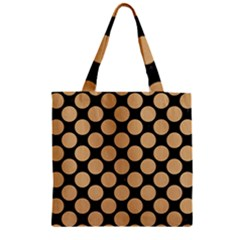 Circles2 Black Marble & Natural White Birch Wood Zipper Grocery Tote Bag by trendistuff