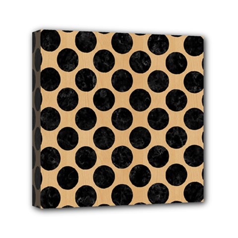 Circles2 Black Marble & Natural White Birch Wood (r) Mini Canvas 6  X 6  by trendistuff