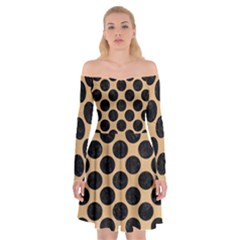 Circles2 Black Marble & Natural White Birch Wood (r) Off Shoulder Skater Dress