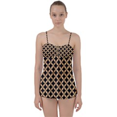 Circles3 Black Marble & Natural White Birch Wood Babydoll Tankini Set