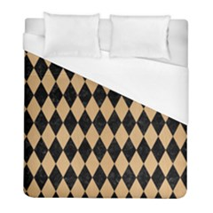 Diamond1 Black Marble & Natural White Birch Wood Duvet Cover (full/ Double Size) by trendistuff
