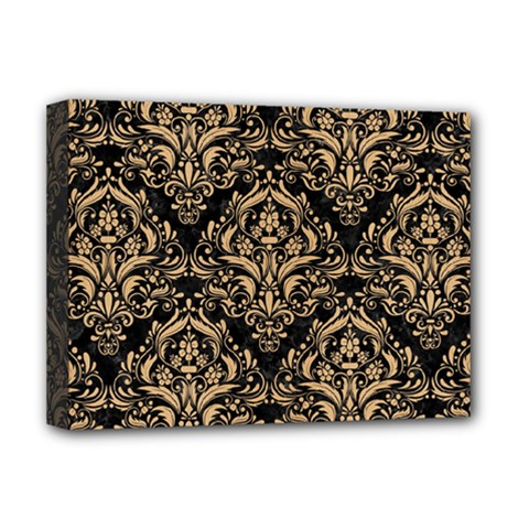 Damask1 Black Marble & Natural White Birch Wood Deluxe Canvas 16  X 12