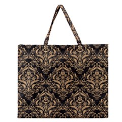 Damask1 Black Marble & Natural White Birch Wood Zipper Large Tote Bag by trendistuff
