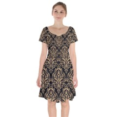 Damask1 Black Marble & Natural White Birch Wood Short Sleeve Bardot Dress