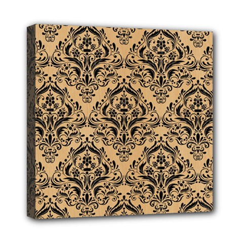 Damask1 Black Marble & Natural White Birch Wood (r) Mini Canvas 8  X 8  by trendistuff
