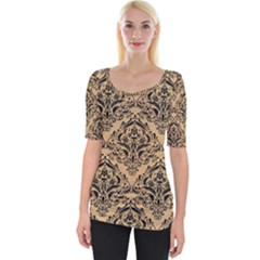 Damask1 Black Marble & Natural White Birch Wood (r) Wide Neckline Tee