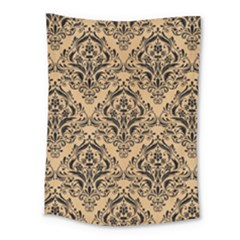 Damask1 Black Marble & Natural White Birch Wood (r) Medium Tapestry by trendistuff