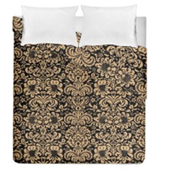 Damask2 Black Marble & Natural White Birch Wood Duvet Cover Double Side (queen Size)