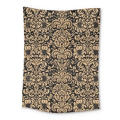 Damask2 Black Marble & Natural White Birch Wood Medium Tapestry