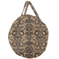 Damask2 Black Marble & Natural White Birch Wood (r) Giant Round Zipper Tote by trendistuff