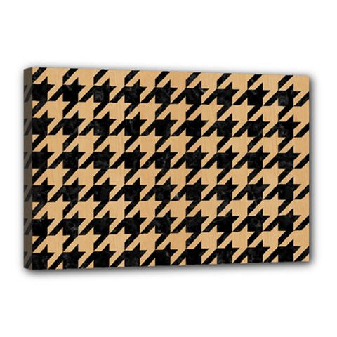 Houndstooth1 Black Marble & Natural White Birch Wood Canvas 18  X 12  by trendistuff