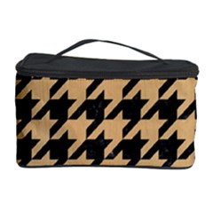Houndstooth1 Black Marble & Natural White Birch Wood Cosmetic Storage Case by trendistuff