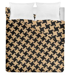 Houndstooth2 Black Marble & Natural White Birch Wood Duvet Cover Double Side (queen Size) by trendistuff