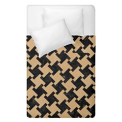 Houndstooth2 Black Marble & Natural White Birch Wood Duvet Cover Double Side (single Size) by trendistuff