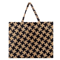 Houndstooth2 Black Marble & Natural White Birch Wood Zipper Large Tote Bag by trendistuff