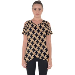Houndstooth2 Black Marble & Natural White Birch Wood Cut Out Side Drop Tee