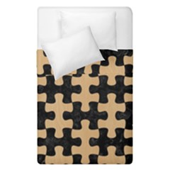 Puzzle1 Black Marble & Natural White Birch Wood Duvet Cover Double Side (single Size) by trendistuff