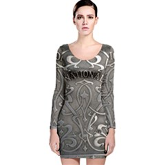 Art Nouveau Silver Long Sleeve Velvet Bodycon Dress by 8fugoso