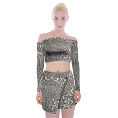 Art Nouveau Silver Off Shoulder Top With Mini Skirt Set by 8fugoso