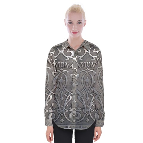 Art Nouveau Silver Womens Long Sleeve Shirt by 8fugoso