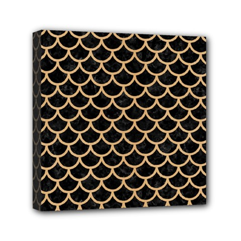 Scales1 Black Marble & Natural White Birch Wood Mini Canvas 6  X 6  by trendistuff