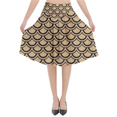 Scales2 Black Marble & Natural White Birch Wood (r) Flared Midi Skirt