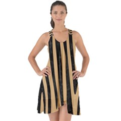 Skin4 Black Marble & Natural White Birch Wood Show Some Back Chiffon Dress