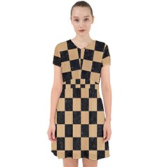 Square1 Black Marble & Natural White Birch Wood Adorable In Chiffon Dress