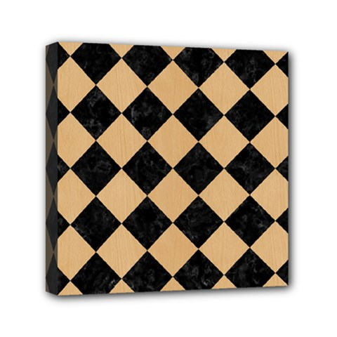 Square2 Black Marble & Natural White Birch Wood Mini Canvas 6  X 6  by trendistuff