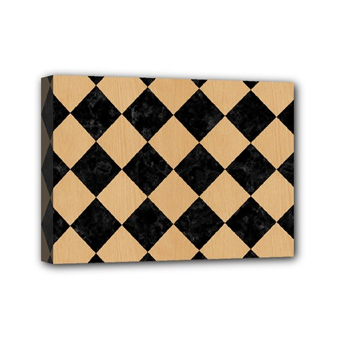 Square2 Black Marble & Natural White Birch Wood Mini Canvas 7  X 5  by trendistuff