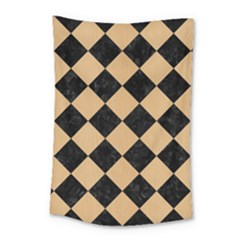 Square2 Black Marble & Natural White Birch Wood Small Tapestry by trendistuff