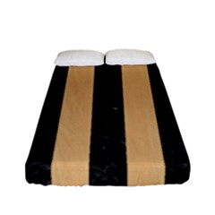 Stripes1 Black Marble & Natural White Birch Wood Fitted Sheet (full/ Double Size) by trendistuff