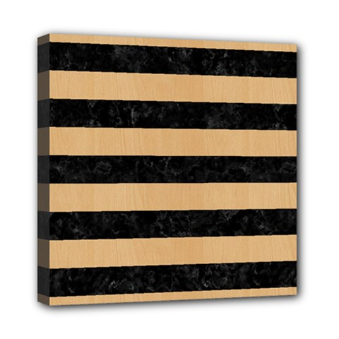 Stripes2 Black Marble & Natural White Birch Wood Mini Canvas 8  X 8  by trendistuff