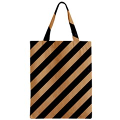 Stripes3 Black Marble & Natural White Birch Wood Zipper Classic Tote Bag by trendistuff