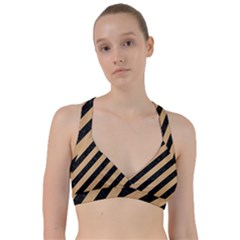 Stripes3 Black Marble & Natural White Birch Wood Sweetheart Sports Bra