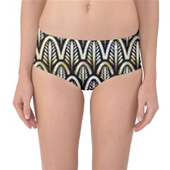 Art Deco Gold Black Shell Pattern Mid Waist Bikini Bottoms by 8fugoso