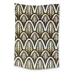 Art Deco Gold Black Shell Pattern Large Tapestry by 8fugoso