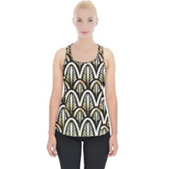 Art Deco Gold Black Shell Pattern Piece Up Tank Top