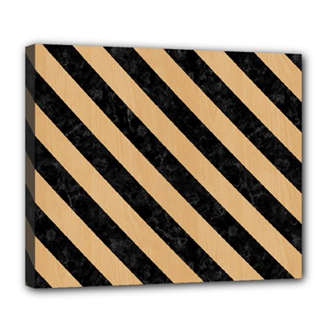 Stripes3 Black Marble & Natural White Birch Wood (r) Deluxe Canvas 24  X 20   by trendistuff