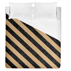 Stripes3 Black Marble & Natural White Birch Wood (r) Duvet Cover (queen Size) by trendistuff