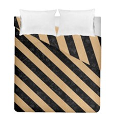 Stripes3 Black Marble & Natural White Birch Wood (r) Duvet Cover Double Side (full/ Double Size) by trendistuff