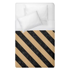 Stripes3 Black Marble & Natural White Birch Wood (r) Duvet Cover (single Size) by trendistuff