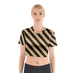 Stripes3 Black Marble & Natural White Birch Wood (r) Cotton Crop Top